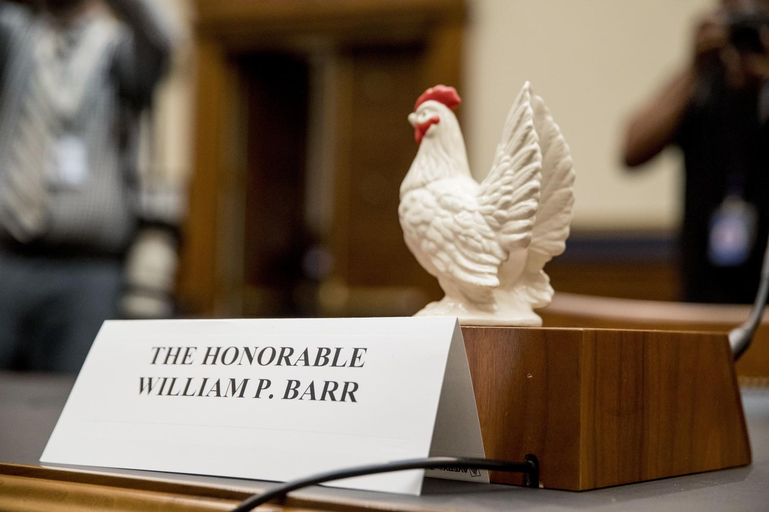 Rep. Steve Cohen, D-Tenn., placed a prop chicken on the witness desk for Attorney General William Barr after he does not appear before a House Judiciary Committee hearing on Capitol Hill in Washington, Thursday, May 2, 2019.