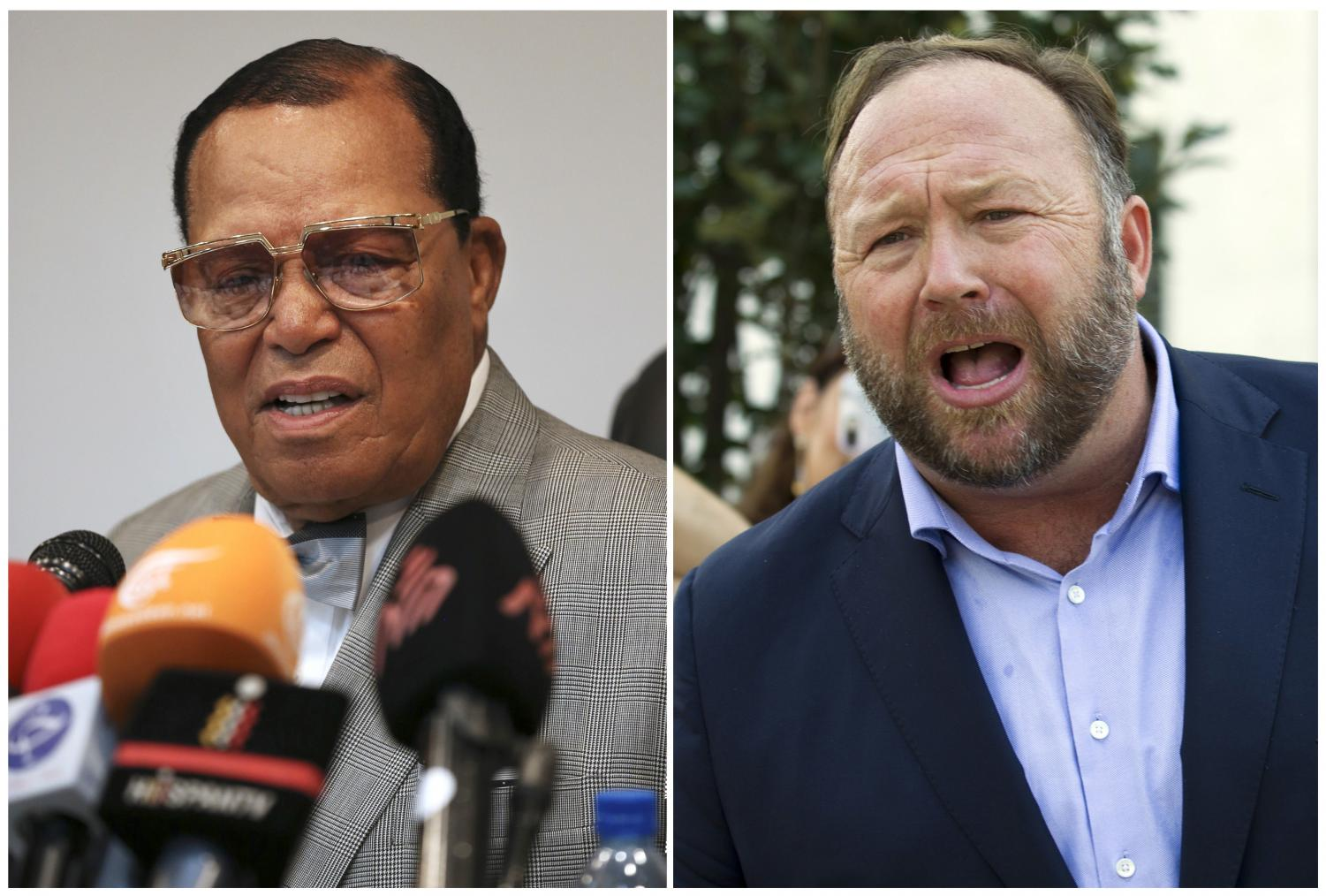 Facebook has banned Louis Farrakhan (left), Alex Jones (right) and others from its platform and from Instagram saying they violated its ban against hate and violence.