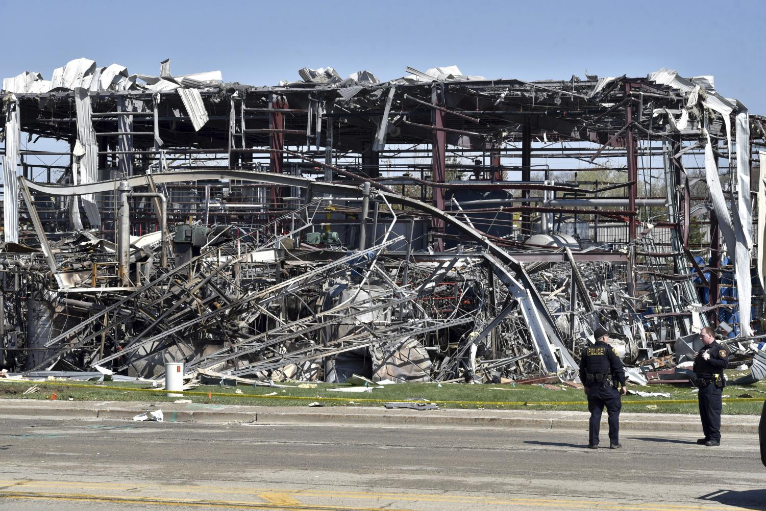 Emergency personnel work at the scene of an explosion at AB Specialty Silicones on Sunset Ave. and Northwestern Ave. on the border between Gurnee, Ill., and Waukegan on Saturday, May 4, 2019. The explosion happened Friday night.