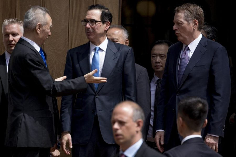 Treasury+Secretary+Steve+Mnuchin%2C+second+from+left%2C+and+United+States+Trade+Representative+Robert+Lighthizer%2C+right%2C+speak+with+Chinese+Vice+Premier+Liu+He%2C+left%2C+as+he+departs+the+Office+of+the+United+States+Trade+Representative+in+Washington%2C+Friday%2C+May+10%2C+2019.