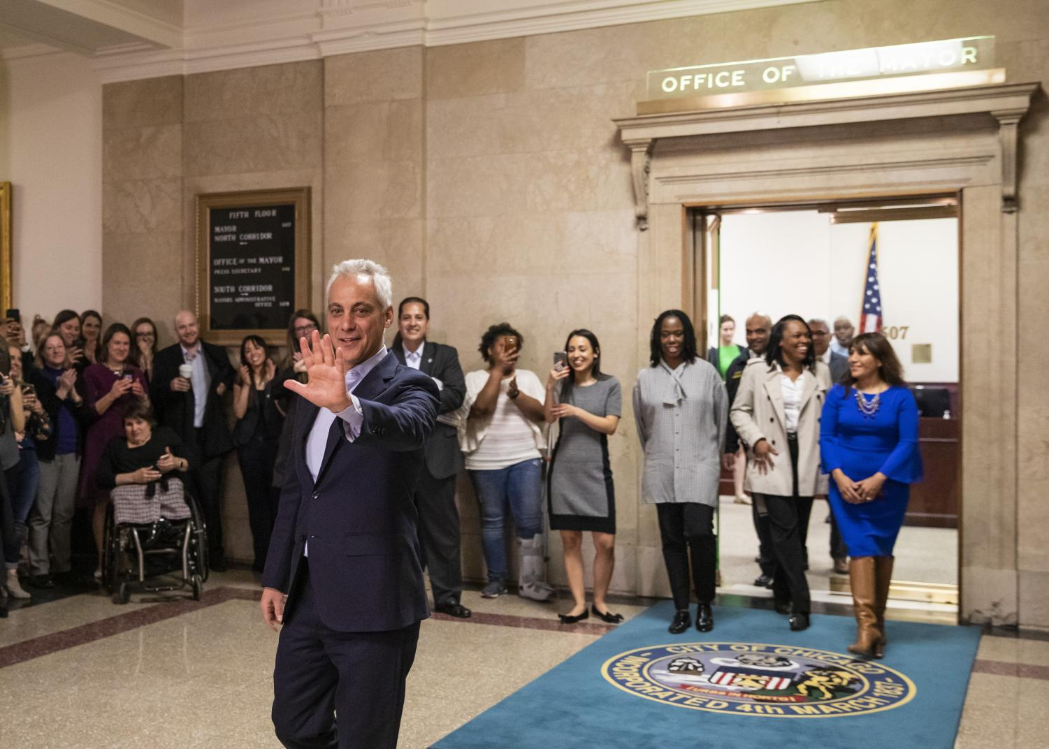 Rahm Emanuel bids farewell as he leaves the mayor's office for the final time.