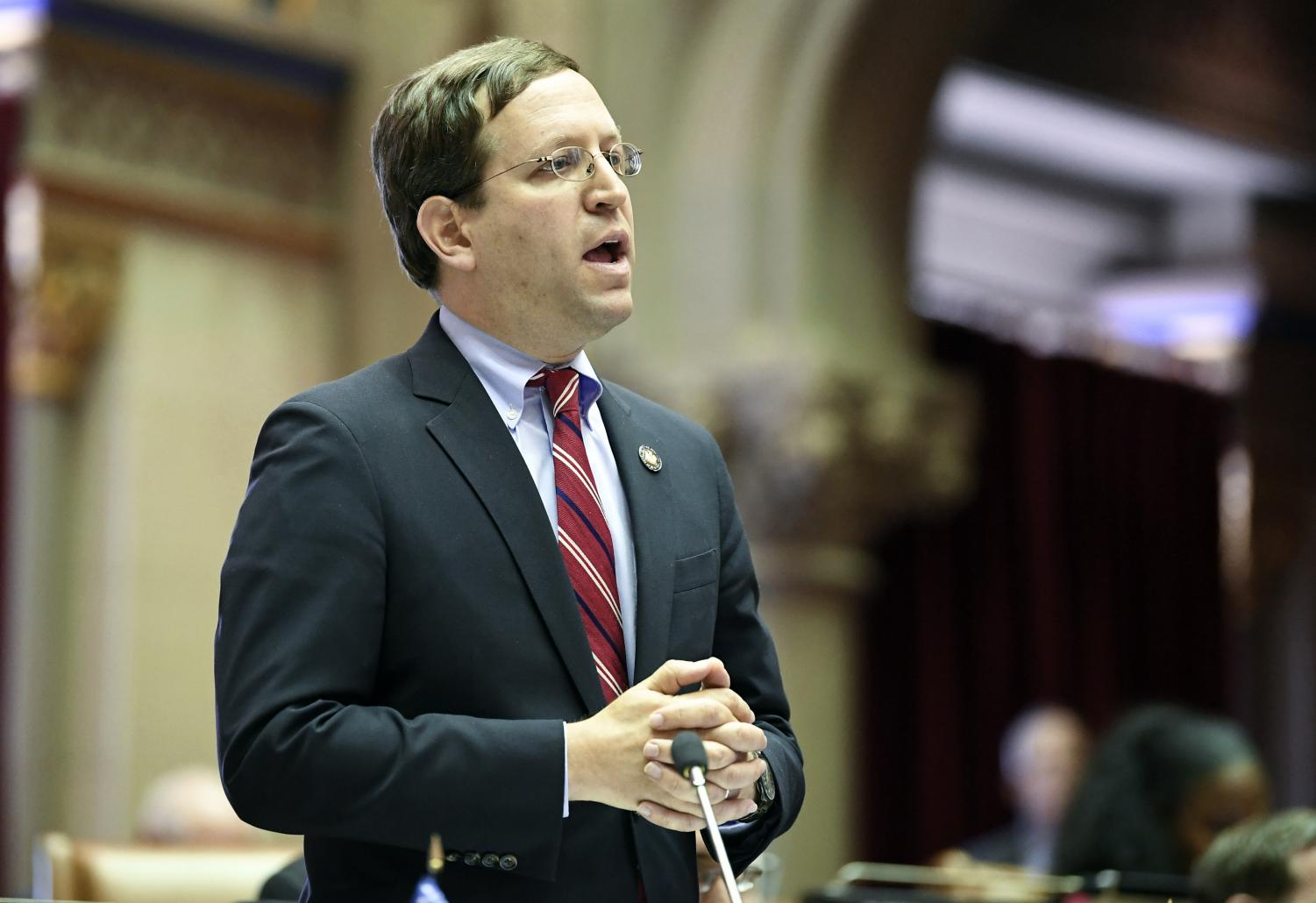 David Buchwald, D-Westchester, speaks to members of the New York state Assembly in favor of legislation that authorizes state tax officials to release, if requested, individual New York state tax returns to Congress, during a vote in the Assembly Chamber at the state Capitol Wednesday, May 22, 2019, in Albany, N.Y.