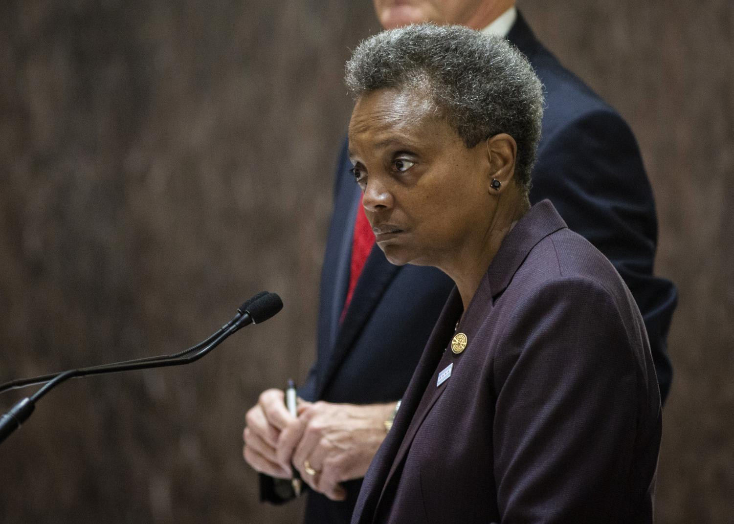 Mayor Lori Lightfoot presides over her first city council meeting at City Hall in Chicago on Wednesday, May 29, 2019.