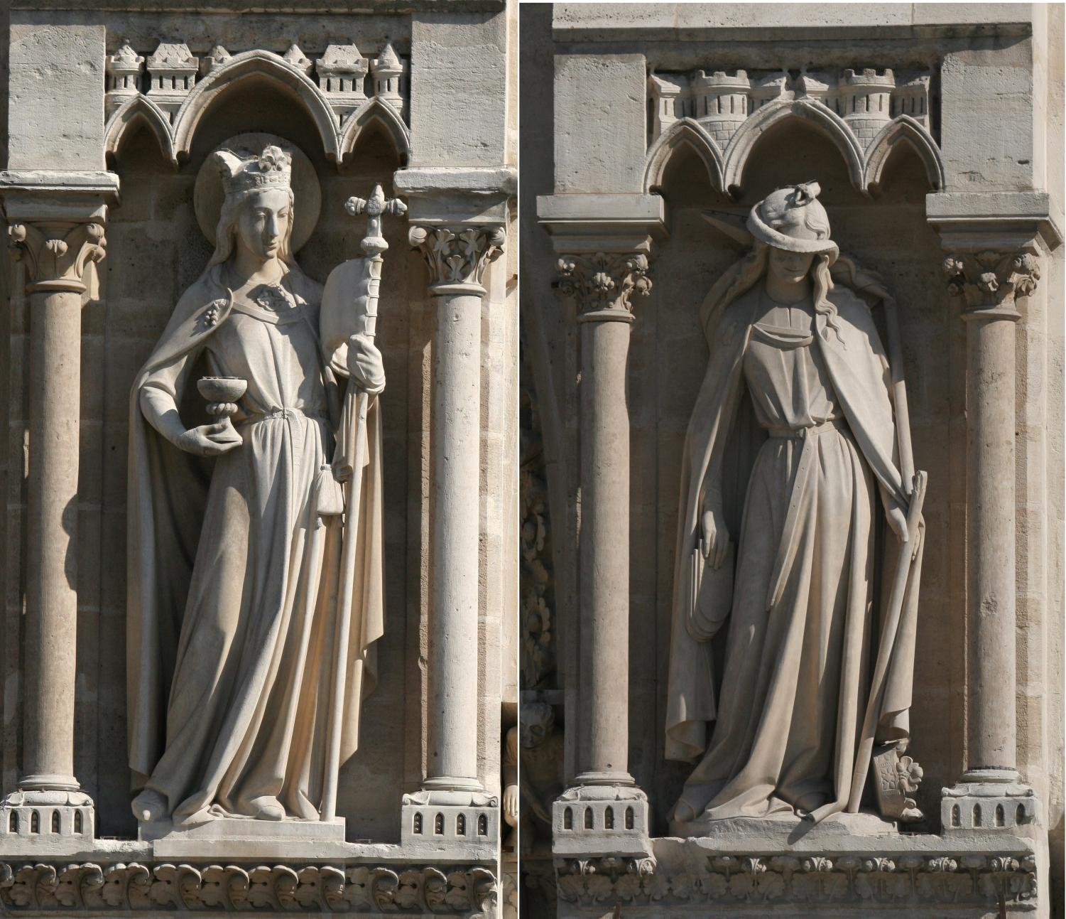 Notre-Dame de Paris. 3rd statue (from left to right) on the West Entrance: the Synagogue.