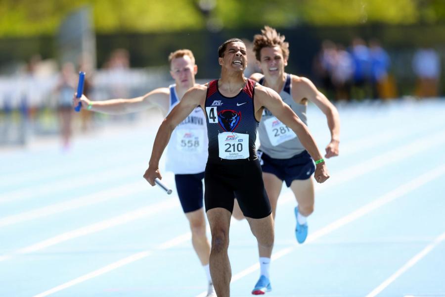 DePaul freshman Henry Larkin crosses the finish line in first place in the 4x400-meter relay race last week in Randell Island, N.Y.