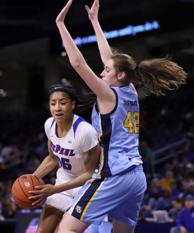 Megan Podkowa and the Blue Demons lead furious second half rally against Minnesota in the first round of the NCAA tournament