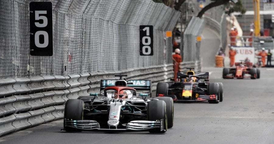 Mercedes driver Lewis Hamilton leads during the Monaco Formula One Grand Prix race, at the Monaco racetrack in Monaco on Sunday.