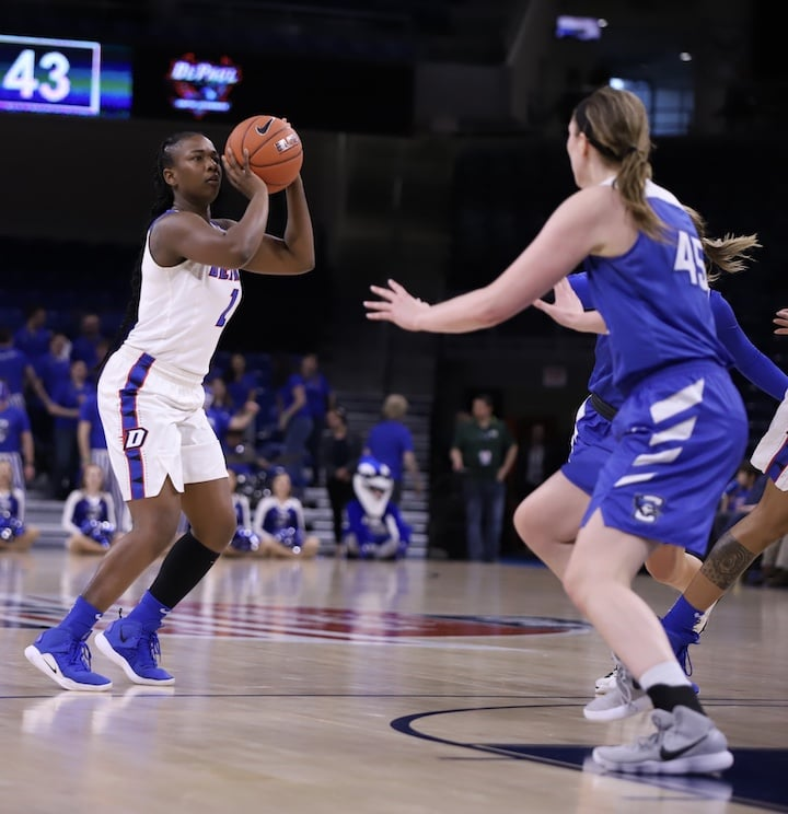 DePaul+senior+Ashton+Millender+attempts+a+3-pointer+against+Creighton+in+the+Big+East+Tournament+March+11+at+Wintrust+Arena.