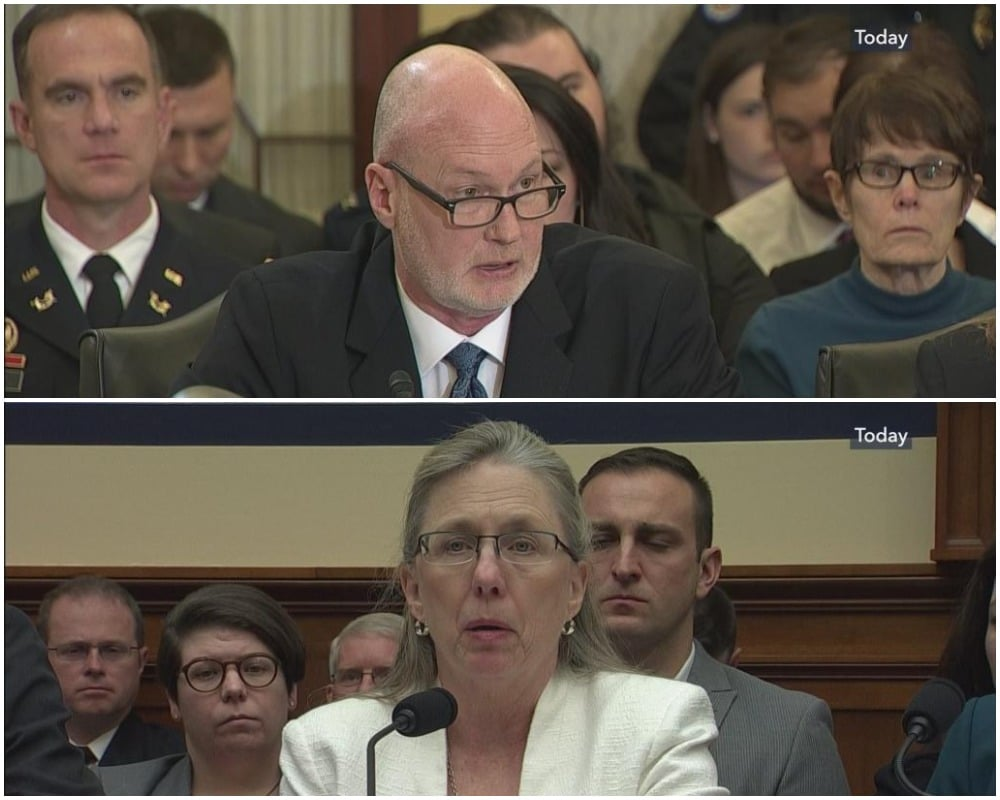Col. Don Christensen (Ret.) of nonprofit group Protect our Defenders at a March Senate hearing on sexual assault in the military; BELOW: Col. Ellen Haring (Ret.) of advocacy group the Service Women's Action Network, at a similar House of Representatives hearing in April.