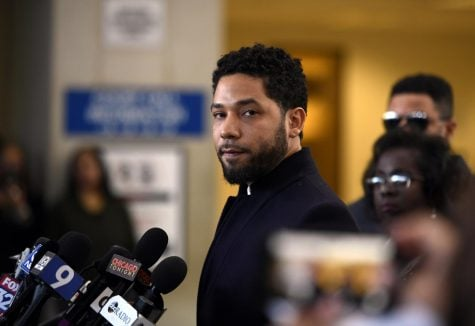 In this March 26, 2019 file photo, Actor Jussie Smollett talks to the media before leaving Cook County Court after his charges were dropped, in Chicago. Chicago's top prosecutor has released 2,000 documents in the Jussie Smollett's case and explained she recused herself from an investigation into his claim he'd been the target of a racist, anti-gay attack solely because of false rumors she was related to the