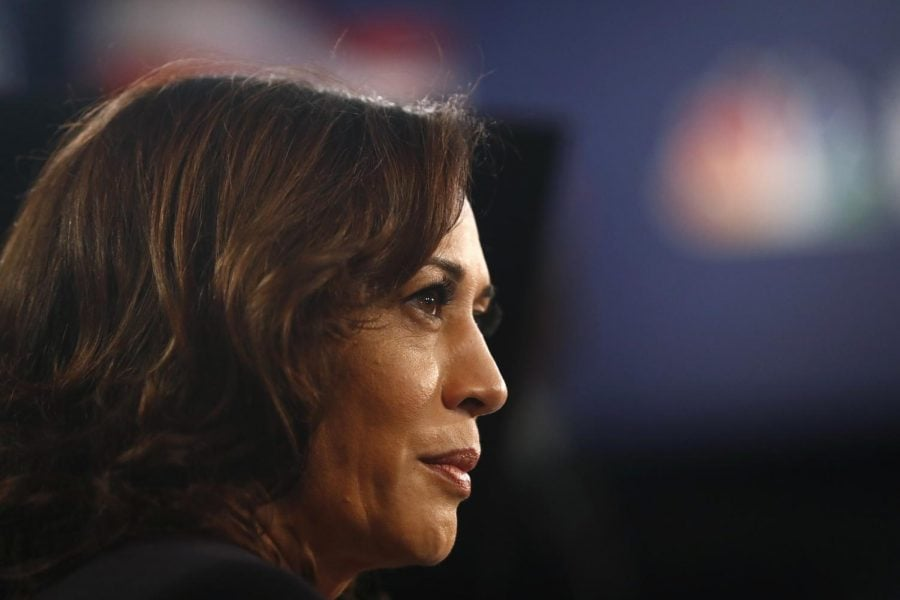 Democratic+presidential+candidate+Sen.+Kamala+Harris%2C+D-Calif.%2C+listens+to+questions+in+the+spin+room+after+the+Democratic+primary+debate+hosted+by+NBC+News+at+the+Adrienne+Arsht+Center+for+the+Performing+Art%2C+Thursday%2C+June+27%2C+2019%2C+in+Miami.