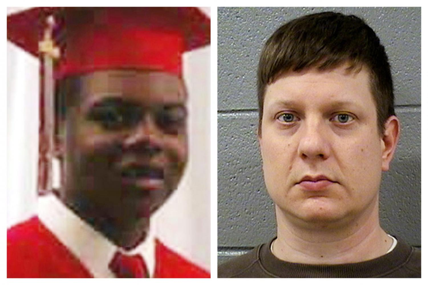 This combination of file photos shows Laquan McDonald and former Chicago Police Officer Jason Van Dyke. The Chicago Police Board on Thursday, July 18, 2019, fired four police officers for allegedly covering up Dyke's 2014 fatal shooting of teenager McDonald.