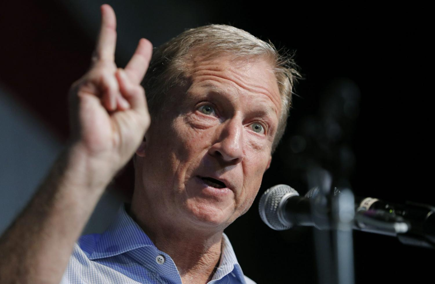 Democratic presidential candidate and businessman Tom Steyer speaks at the Iowa Democratic Wing Ding at the Surf Ballroom in Clear Lake, Iowa. A handful of struggling Democratic presidential hopefuls are bracing for bad news as the window to qualify for the party's next debate closes quickly.