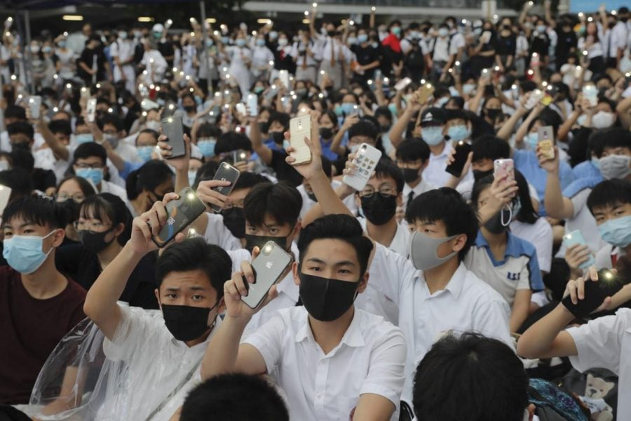 Students wear protective gear during a protest in Hong Kong, Monday, Sept. 2, 2019. Hong Kong has been the scene of tense anti-government protests for nearly three months. The demonstrations began in response to a proposed extradition law and have expanded to include other grievances and demands for democracy in the semiautonomous Chinese territory.