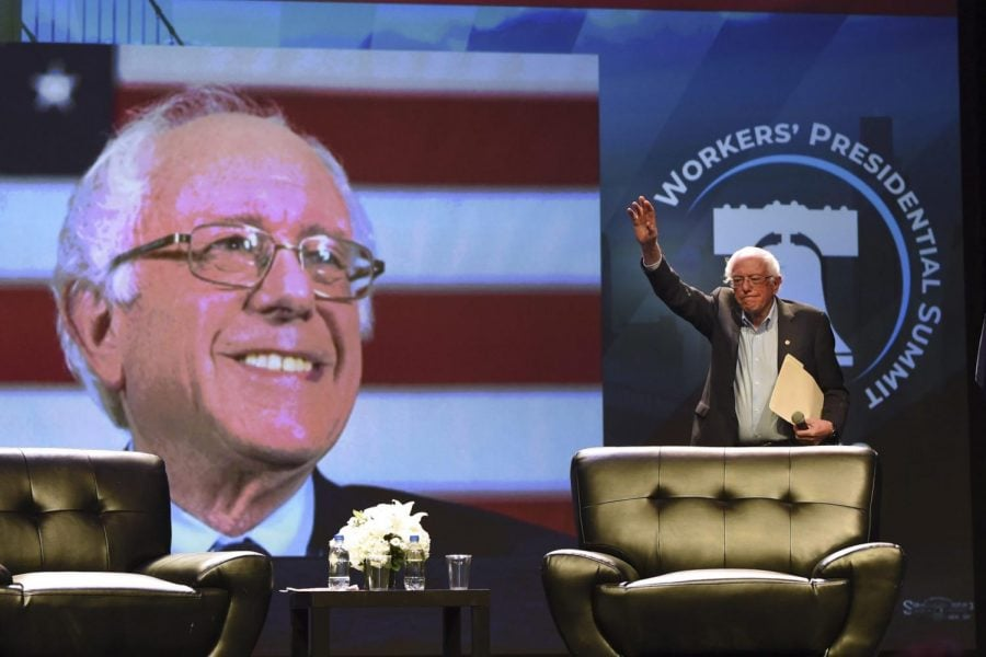 Democratic+presidential+candidate+U.S.+Sen.+Bernie+Sanders+arrives+onstage+at+the+%22Workers%27+Presidential+Summit%22+at+the+Convention+Center+in+Philadelphia+Tuesday%2C+Sept.+17%2C+2019.+The+Philadelphia+Council+of+the+AFL-CIO+hosted+the+event.