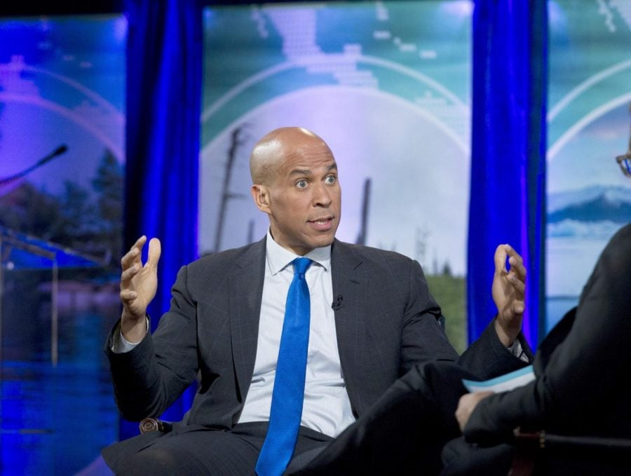Senator+Cory+Booker%2C+photographed+at+the+Climate+Forum+at+Georgetown+University+on+Friday.