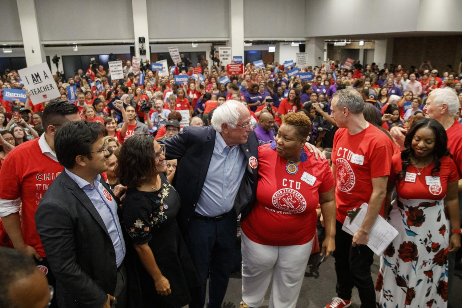 Supporters cheer as presidential candidate U.S. Sen. Bernie Sanders, I-Vt., speaks at a rally at the Chicago Teachers Union headquarters, Tuesday, Sept. 24, 2019, in Chicago.
