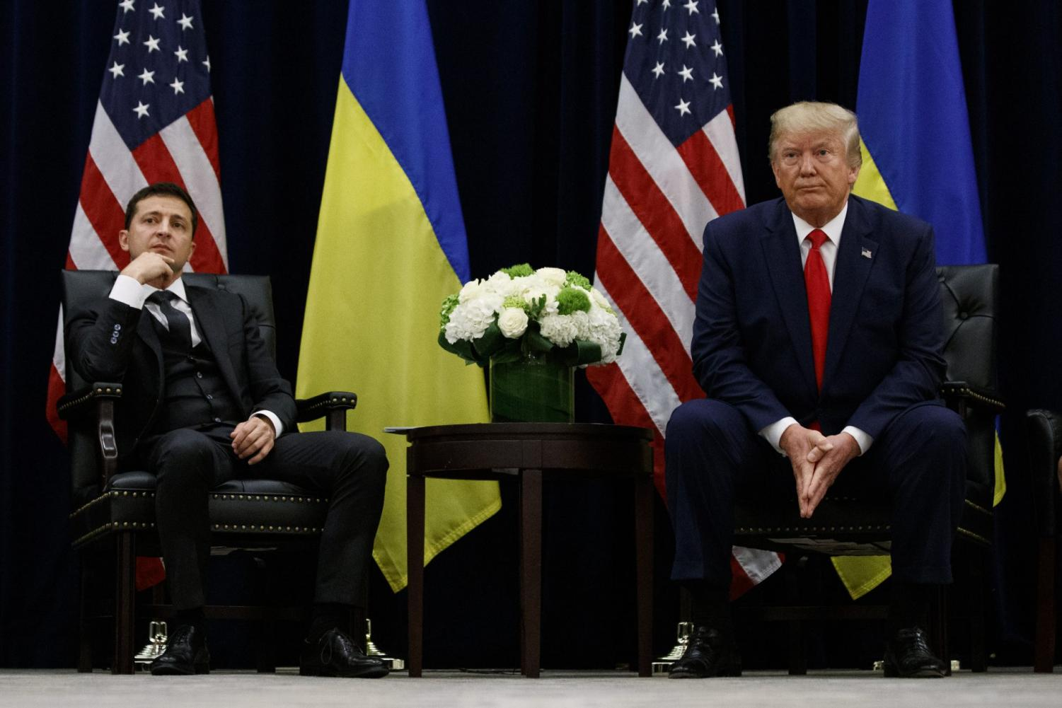 President Donald Trump meets with Ukrainian President Volodymyr Zelenskiy during the U.N. General Assembly, Sept. 25, 2019, in New York.