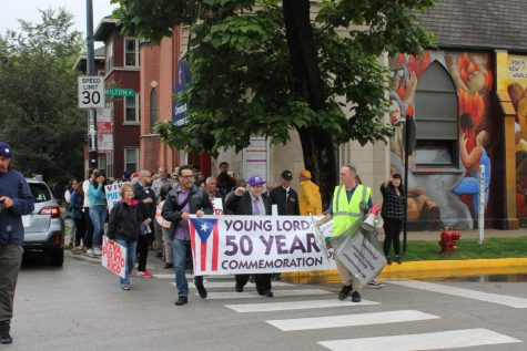 Community members, Young Lord activists, and plenty others join one another at Holy Covenant Methodist Church near the Diversey Brown Line station for a Peace March that followed a call to worship at Holy Covenant.