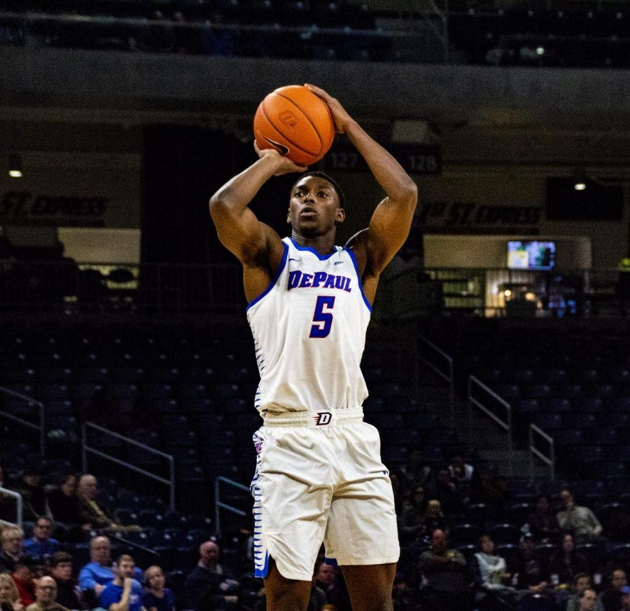 DePaul senior guard Jalen Coleman-Lands pulls up for a jump shot against UIC on Dec. 14, 2018 at Wintrust Arena. The two teams will meet this season on Dec. 14 at Wintrust.