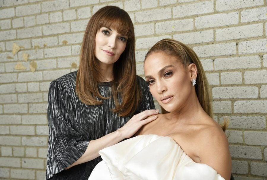 Hustlers writer Lorene Scafaria (left) poses with Jennifer Lopez (right).