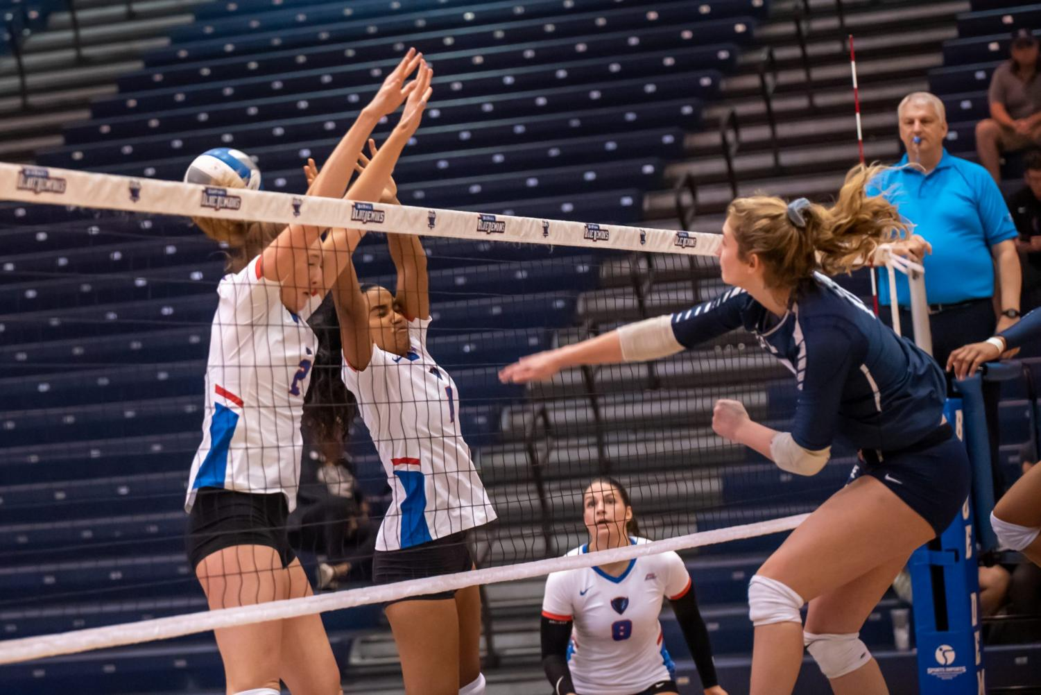 DePaul senior Brittany Maxwell goes up for a hit against Seton Hall on Saturday at McGrath-Phillips Arena. The Blue Demons won the match in four sets.