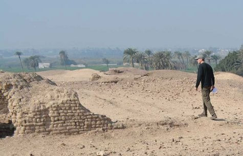Professor Scott Bucking is pictured surveying the Beni Hassan preservation site in 2018.
