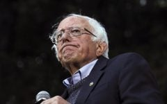 In this Sept. 29, 2019 photo, Democratic presidential candidate Sen. Bernie Sanders, I-Vt., pauses while speaking at a campaign event at Dartmouth College in Hanover, N.H. Sanders' campaign said Wednesday the Democratic presidential candidate has had a heart procedure for a blocked artery and that he's canceling events and appearances