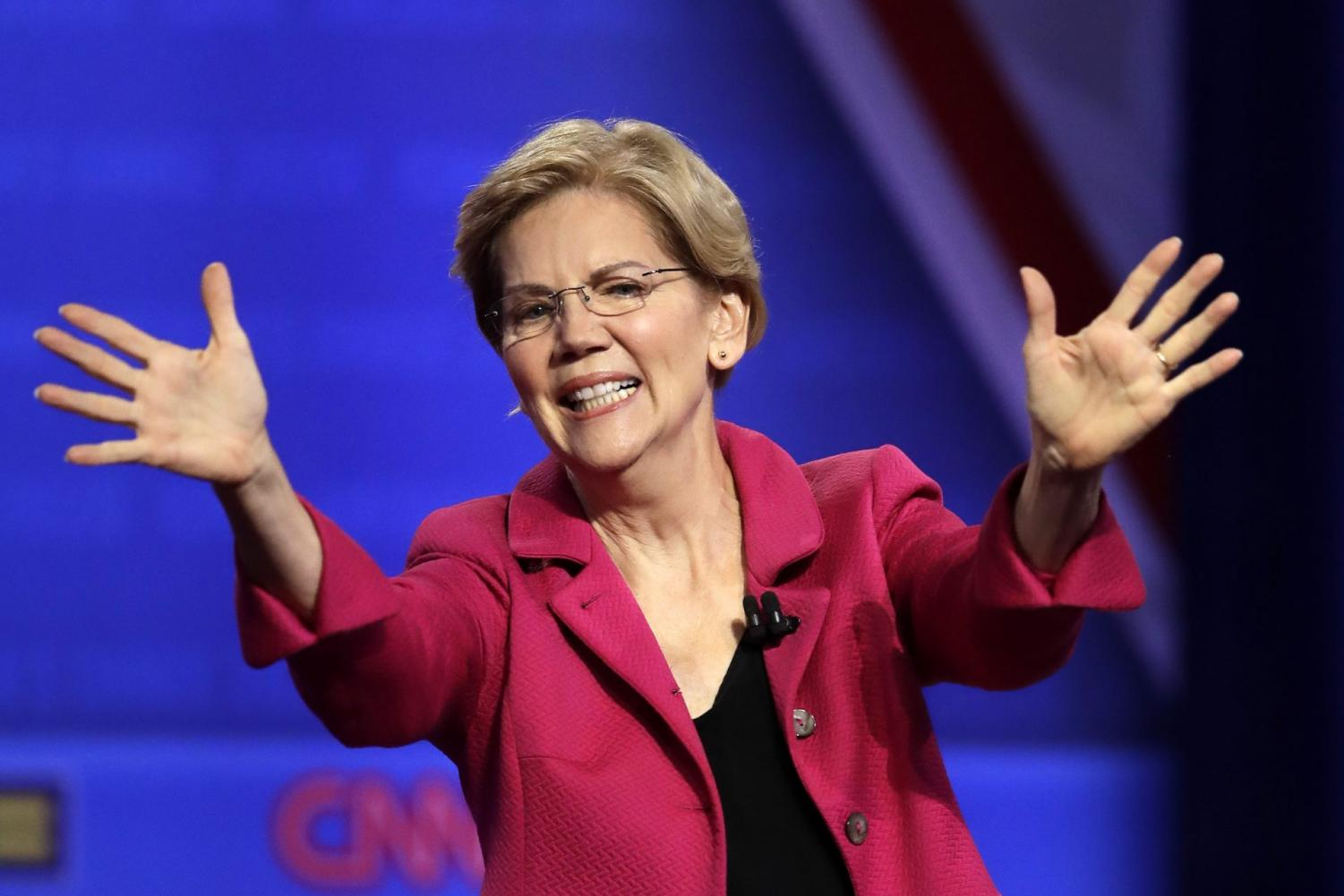 In this Oct. 10, 2019, photo, Democratic presidential candidate Sen. Elizabeth Warren, D-Mass., speaks during the Power of our Pride Town Hall in Los Angeles.