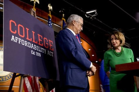 House Speaker Nancy Pelosi of Calif., right, accompanied by Education and Labor Committee Chairman Rep. Bobby Scott, D-Va., left, speaks at a news conference to unveil the College Affordability Act on Capitol Hill in Washington, Tuesday, Oct. 15, 2019. (AP Photo/Andrew Harnik)