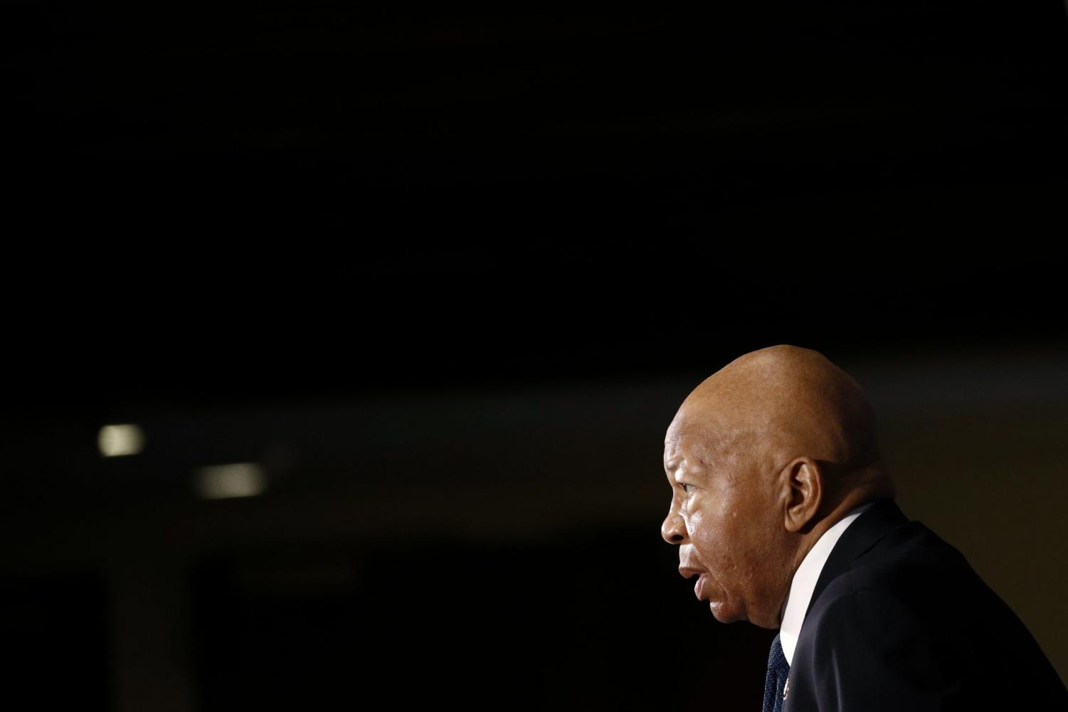 In this Aug. 7, 2019, file photo, Rep. Elijah Cummings, D-Md., speaks during a luncheon at the National Press Club in Washington. Cummings, a sharecropper's son who rose to become the powerful chairman of one of the U.S. House committees leading an impeachment inquiry of President Donald Trump, died Thursday, Oct. 17, 2019, of complications from longstanding health issues. He was 68.