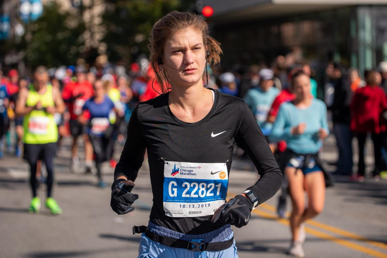 DePaul junior Ivy Witczak runs the 42nd edition of the Chicago Marathon on Sunday. Witczak, a Norwood Park, Chicago native,  ran the Marathon in a time of 03:55:12.