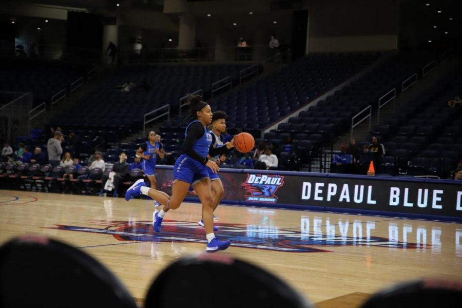DePaul+junior+Deja+Church+dribbles+the+ball+up+the+court+in+an+open+scrimmage+on+Saturday+at+Wintrust.