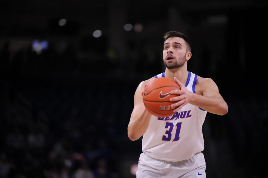 Max Strus lines up a free-throw attempt on March 3 against St. John's. Strus led the Blue Demons with 43 points en route to a 92-83 victory on senior day at Wintrust Arena.