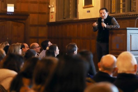 Fr. Guillermo Campuzano, the Vincentians' representative at the UN, speaks at Cortelyou Commons on Thursday about charity, political advocacy and systemic change.