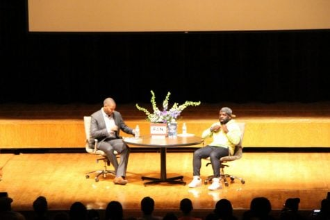 Ta-Nehisi Coates (left) with Hanif Abdurraqib (right).