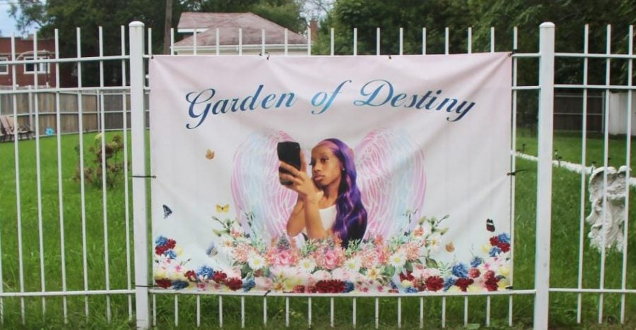 Freddrica Nicholas purchased the lot next to her home and dedicated it to the memory of her daughter Destiny, who was killed in a shooting in April in the Chicago Lawn neighborhood. Destiny worked for over a year at Brownstones Café in the DePaul Student Center and was currently working at Midway Airport.