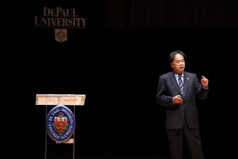 President A. Gabriel Esteban addresses faculty, staff and administrators at the annual State of the University speech.
