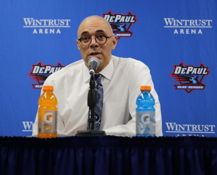 Men%27s+basketball+head+coach+Dave+Leitao+at+a+press+conference+in+March.