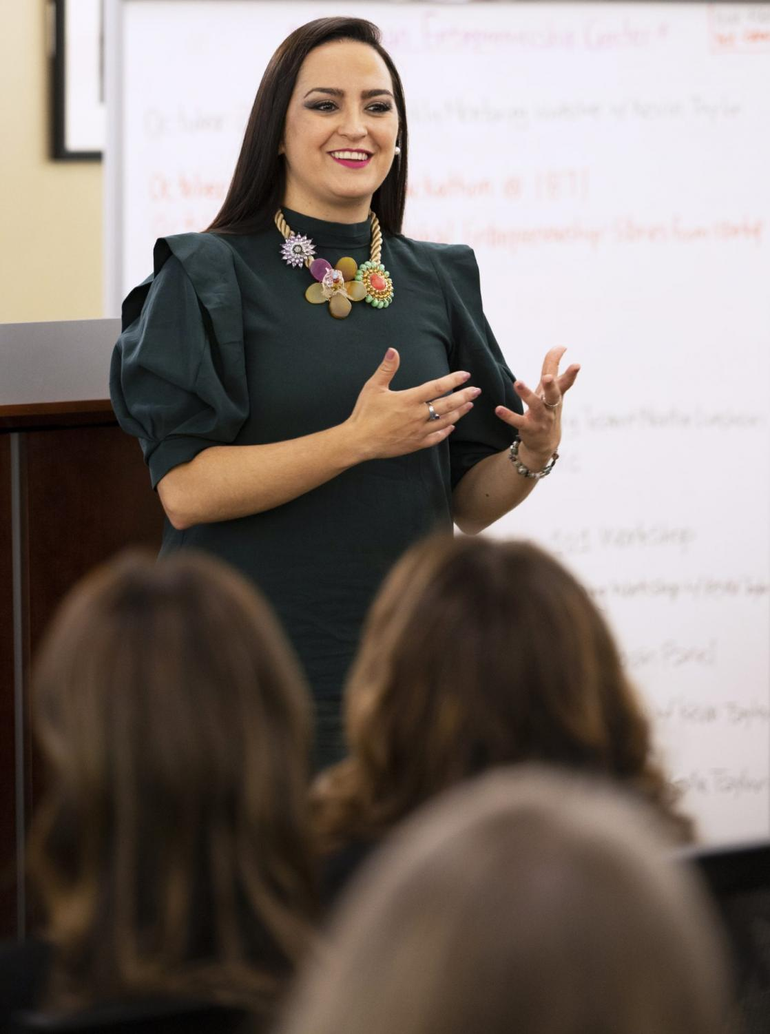 Keynote speaker, Jacqueline Camacho-Ruiz talks to students at the Latinx Womyn in Leadership and Entrepreneurship event on Tuesday at the Coleman Entrepreneurship Center. Jacqueline spoke about giving yourself the power to push yourself to success.
