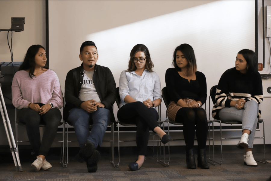 (From left to right) Yamel Rivera, psychology major, Jamie Gonzalez, a senior political science and Latin American and Latino studies with a minor in Spanish, Stephanie Berryhill, an academic advisor in the College of Education, Karina Campos, a junior health and sciences major and minor in Spanish, and Anja Bencun, a junior human resource management major, all speak during the panel.