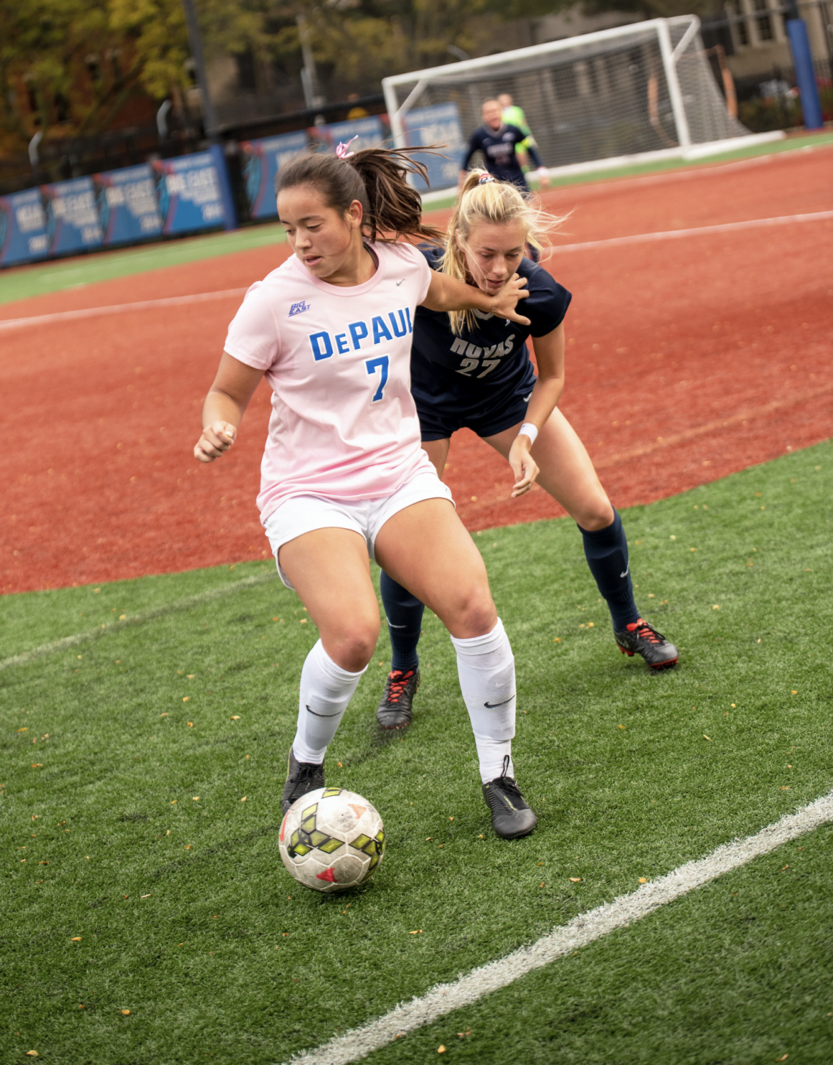 Kristin Boos defends the ball against a Georgetown defender in a game on Oct. 24 in a contest at Wish Field. Boos has three goals and three assists on the season.