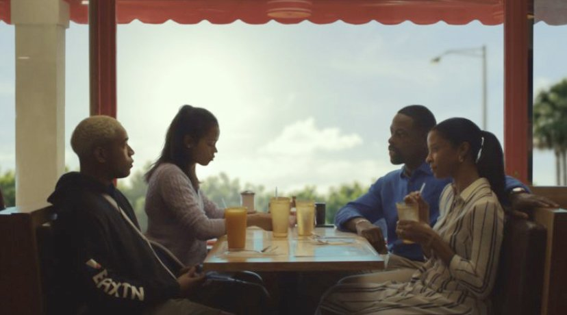 "Katherine, Ronald, Tyler and Emily ­— four of the main characters ithat ""Waves"" follows — sit across from eachother in a diner.  Photo by IMDB"