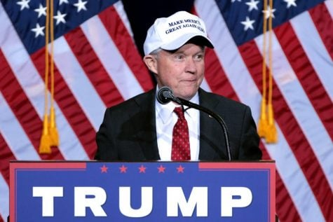 Then-U.S. Sen. Jeff Sessions, R-Ala., speaks at an event hosed by then-presidential candidate Donald Trump in Phoenix, Arizona. on August 31, 2016.