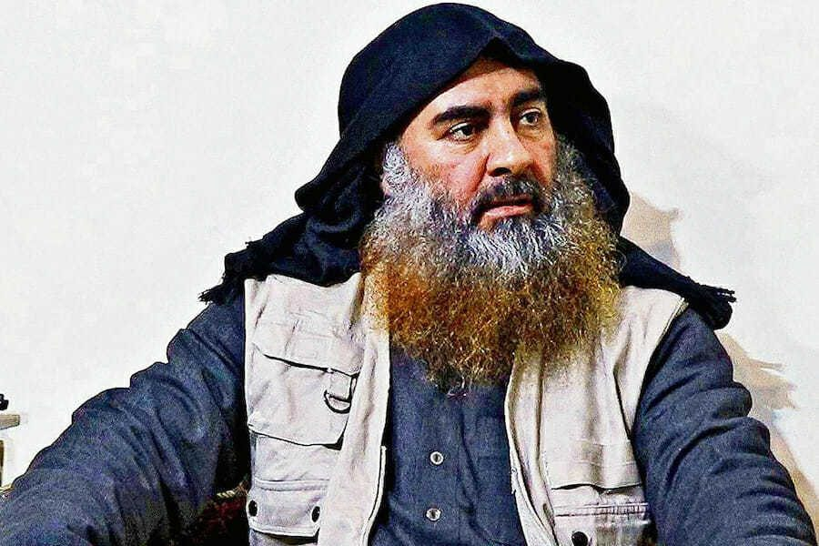 This image released by the Department of Defense on Wednesday, Oct. 30, 2019, and displayed at a Pentagon briefing, shows an image of Islamic State leader Abu Bakr al-Baghdadi.
