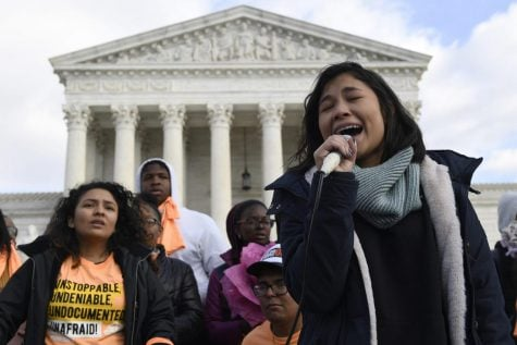 Michelle Lainez, 17, originally from El Salvador but now living in Gaithersburg, Md., speaks during a rally outside the Supreme Court in Washington, Friday, Nov. 8, 2019. The Supreme Court on Tuesday takes up the Trump administration's plan to end legal protections that shield nearly 700,000 immigrants from deportation, in a case with strong political overtones amid the 2020 presidential election campaign.
