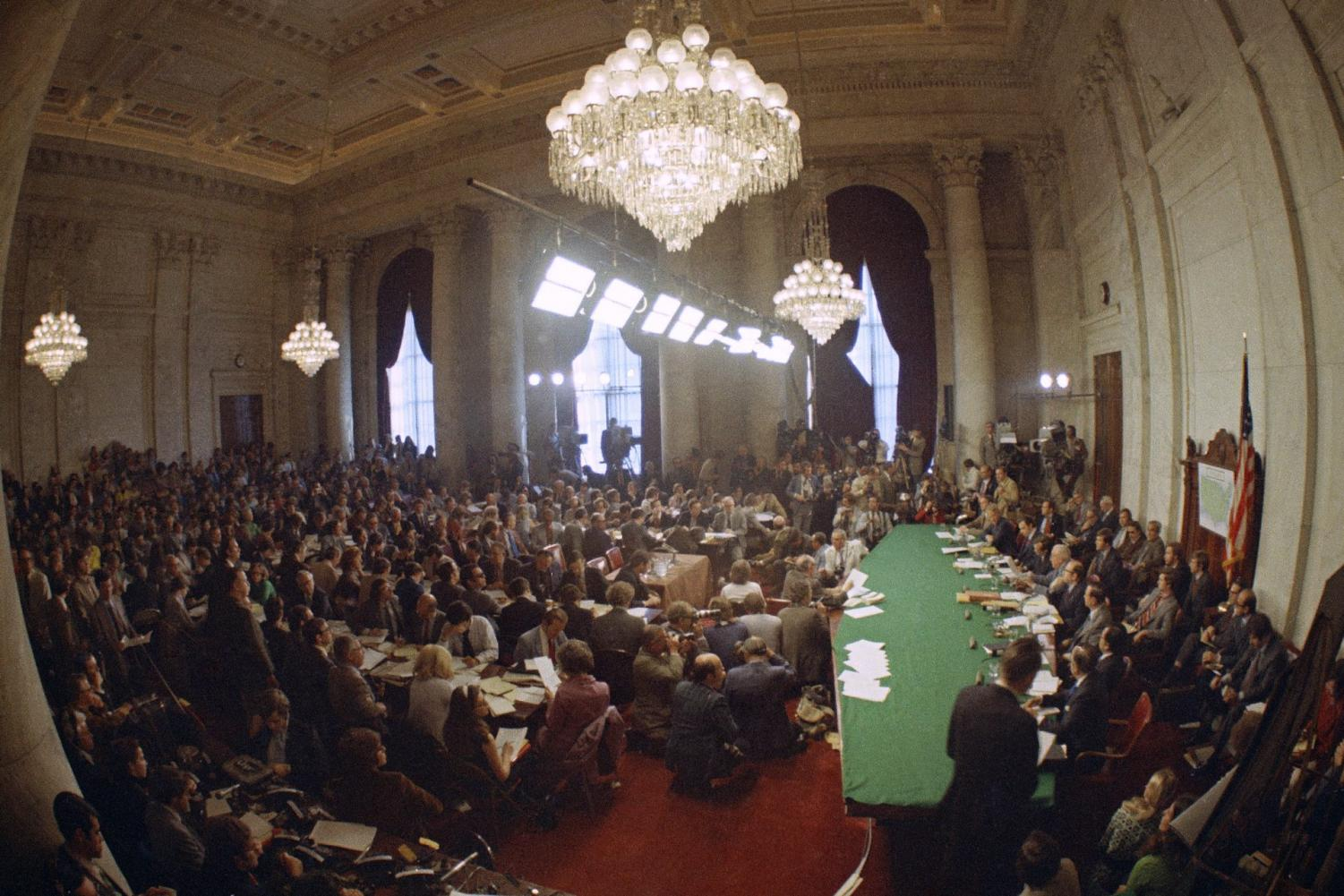 In this May 18, 1973, file photo, the hearing of the Senate select committee on the Watergate case on Capitol Hill in Washington. In 1973, millions of Americans tuned in to what Variety called