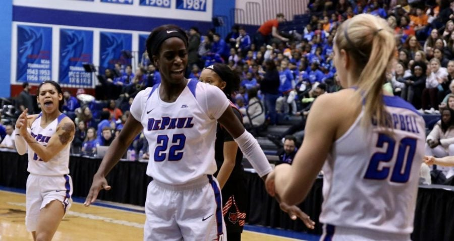 DePaul+senior+forward+Chante+Stonewall+celebrates+during+the+first+half+against+Arkansas+State+on+Friday+at+McGrath-Phillips+Arena.