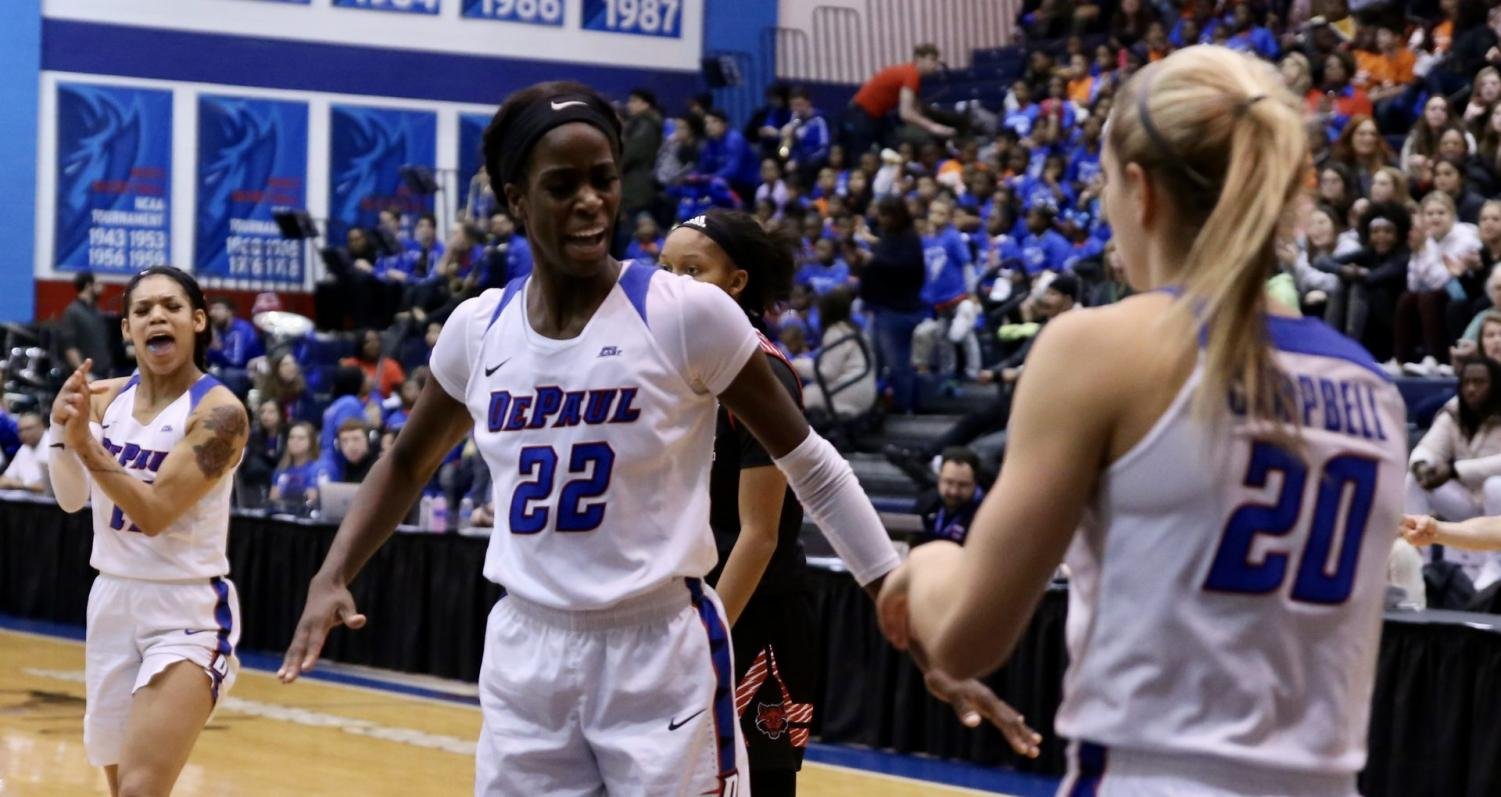 DePaul senior forward Chante Stonewall celebrates during the first half against Arkansas State on Friday at McGrath-Phillips Arena.
