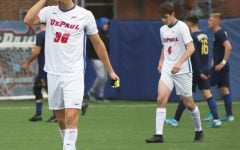 DePaul senior defender Max De Bruijne walks off the field after losing 1-0 to Marquette on Wednesday at Wish Field.
